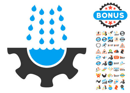 Water Shower Service Gear icon with bonus 2017 new year clip art. Vector illustration style is flat iconic symbols,modern colors, rounded edges.