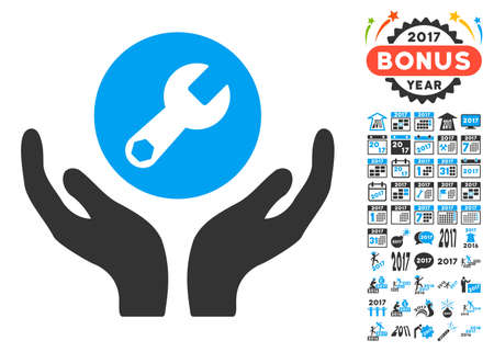 Wrench Maintenance pictograph with bonus 2017 new year design elements. Vector illustration style is flat iconic symbols,modern colors, rounded edges. Illustration