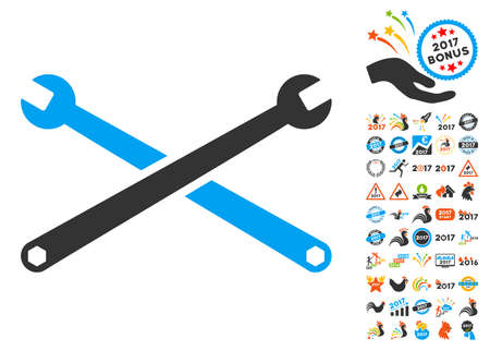 Wrenches icon with bonus 2017 new year graphic icons. Vector illustration style is flat iconic symbols,modern colors, rounded edges.