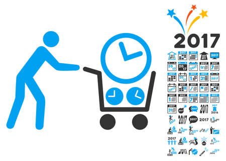 Clock Shopping icon with bonus 2017 new year graphic icons. Vector illustration style is flat iconic symbols,modern colors, rounded edges.