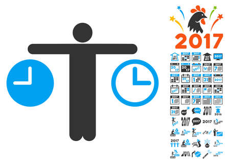 tracking: Compare Time icon with bonus 2017 new year images. Vector illustration style is flat iconic symbols,modern colors, rounded edges.