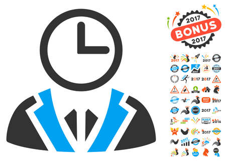 Duty Person pictograph with bonus 2017 new year pictures. Vector illustration style is flat iconic symbols,modern colors, rounded edges.