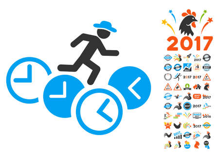 timed: Gentleman Running Over Clocks pictograph with bonus 2017 new year pictograph collection. Vector illustration style is flat iconic symbols,modern colors, rounded edges.