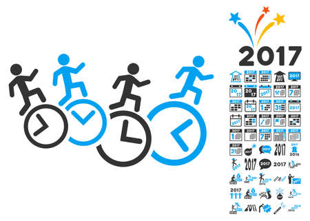 timed: Men Running Over Clocks icon with bonus 2017 new year clip art. Vector illustration style is flat iconic symbols,modern colors, rounded edges.