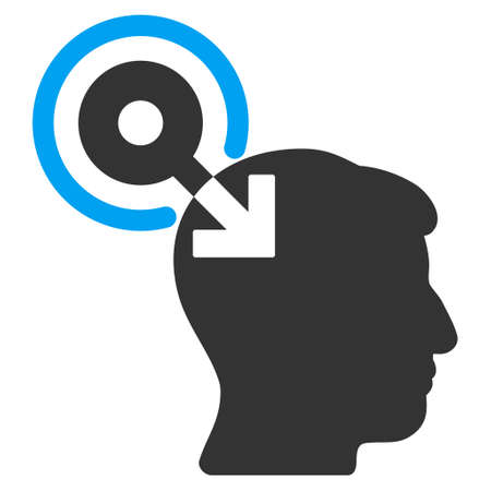 plugin: Brain Interface Plug-In glyph pictogram. Style is flat graphic bicolor symbol, blue and gray colors, white background.