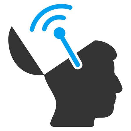 cerebra: Open Brain Radio Interface glyph icon. Style is flat graphic bicolor symbol, blue and gray colors, white background.