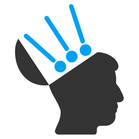 cerebra: Open Mind Interface glyph icon. Style is flat graphic bicolor symbol, blue and gray colors, white background. Stock Photo
