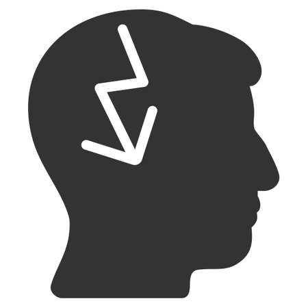 ruch: Brain Electric Strike glyph pictogram. Style is flat graphic symbol, gray color, white background.