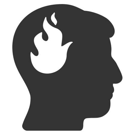 ruch: Brain Fire glyph pictograph. Style is flat graphic symbol, gray color, white background.