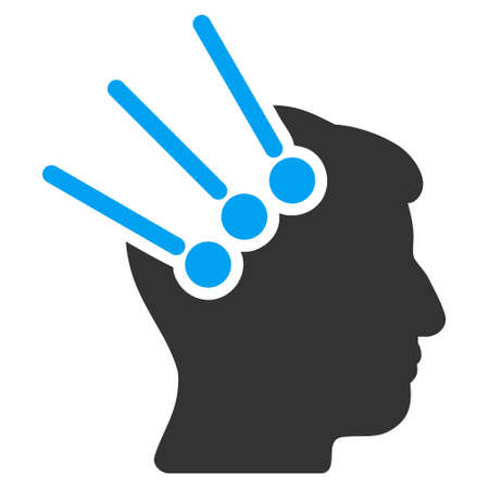 Neural Interface Connectors glyph pictogram. Style is flat graphic bicolor symbol, blue and gray colors, white background. Stock Photo