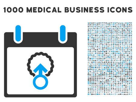 penetración: Azul y gris, la penetración celular Calendario icono glifo día con 1000 pictogramas de negocios médica. conjunto de estilos es bicolor símbolos planas, los colores azul y gris, fondo blanco.