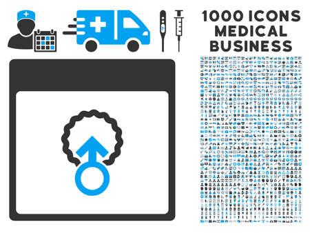 penetración: La penetración celular icono azul y gris glifo página de calendario de 1000 con pictogramas de negocios médica. conjunto de estilos es bicolor símbolos planas, los colores azul y gris, fondo blanco. Foto de archivo