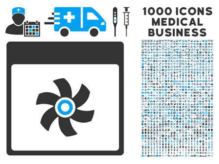 airscrew: Blue And Gray Fan Calendar Page glyph icon with 1000 medical business pictograms. Set style is flat bicolor symbols, blue and gray colors, white background.