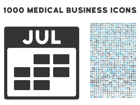 calendario julio: Blue And Gray July Calendar Grid glyph icon with 1000 medical business pictograms. Set style is flat bicolor symbols, blue and gray colors, white background. Foto de archivo