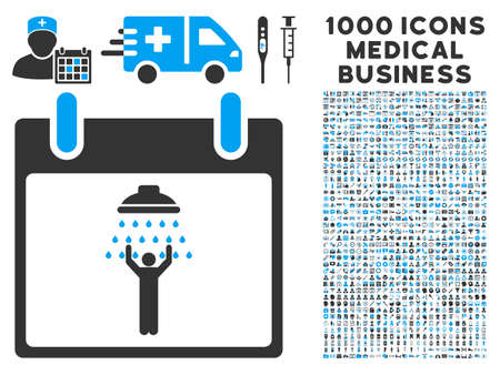 man shower: Blue And Gray Man Shower Calendar Day glyph icon with 1000 medical business pictograms. Set style is flat bicolor symbols, blue and gray colors, white background.
