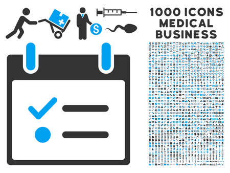 item list: Blue And Gray Todo List Calendar Day glyph icon with 1000 medical business pictograms. Set style is flat bicolor symbols, blue and gray colors, white background.