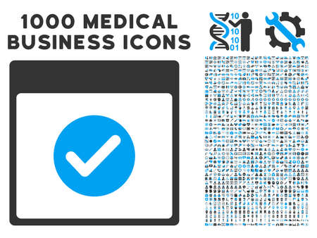 Blue And Gray Ok Calendar Day glyph icon with 1000 medical business pictograms. Set style is flat bicolor symbols, blue and gray colors, white background.