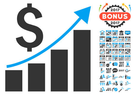 growth chart: Financial Bar Chart Growth Trend pictograph with bonus 2017 new year icon set. Vector illustration style is flat iconic symbols,modern colors.