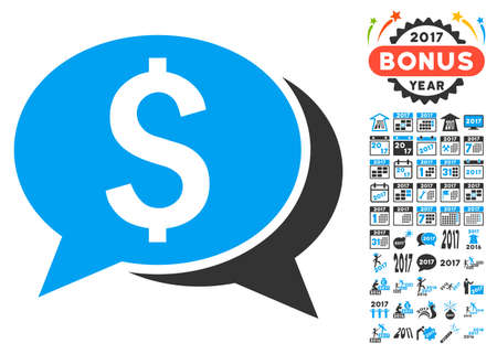 Financial Chat pictograph with bonus 2017 new year icon set. Vector illustration style is flat iconic symbols,modern colors.