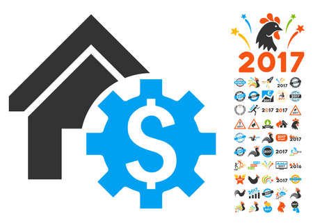 House Rent Options icon with bonus 2017 new year pictograms. Vector illustration style is flat iconic symbols,modern colors.