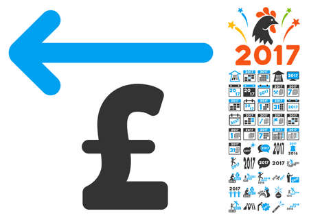 Cashback Pound icon with bonus 2017 new year clip art. Vector illustration style is flat iconic symbols,modern colors.