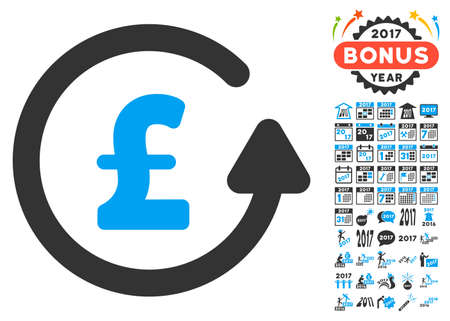 Chargeback Pound icon with bonus 2017 new year graphic icons. Vector illustration style is flat iconic symbols,modern colors.