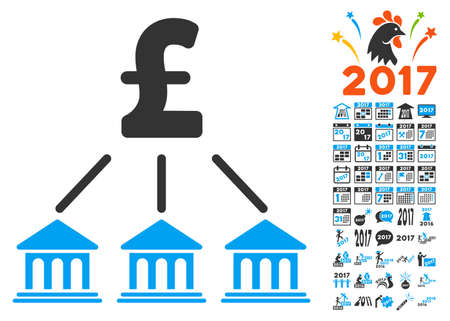 bank branch: Pound Bank Organization icon with bonus 2017 new year symbols. Vector illustration style is flat iconic symbols,modern colors.