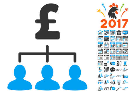 relations: Pound Payment Relations pictograph with bonus 2017 new year pictograph collection. Vector illustration style is flat iconic symbols,modern colors. Illustration