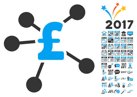 clip art cost: Pound Distribution icon with bonus 2017 new year clip art. Vector illustration style is flat iconic symbols,modern colors.