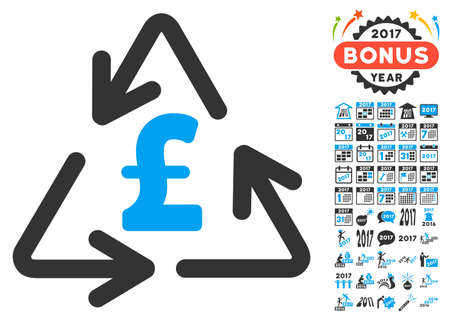 clip art cost: Recycling Pound Cost icon with bonus 2017 new year pictures. Vector illustration style is flat iconic symbols,modern colors. Illustration