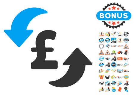 clip art cost: Update Pound Cost pictograph with bonus 2017 new year pictograms. Vector illustration style is flat iconic symbols,modern colors.