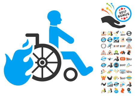Burn Patient icon with bonus 2017 new year symbols. Vector illustration style is flat iconic symbols,modern colors. Illustration