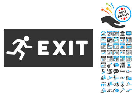 evacuate: Emergency Exit pictograph with bonus 2017 new year icon set. Vector illustration style is flat iconic symbols,modern colors.