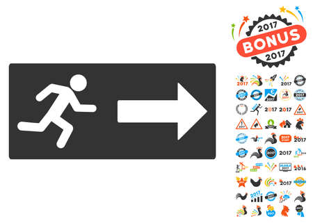 depart: Emergency Exit pictograph with bonus 2017 new year pictograms. Vector illustration style is flat iconic symbols,modern colors.