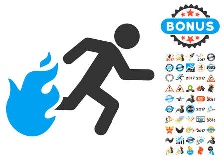burn out: Fired Running Man icon with bonus 2017 new year clip art. Vector illustration style is flat iconic symbols,modern colors. Illustration