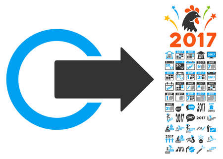 Logout pictograph with bonus 2017 new year graphic icons. Vector illustration style is flat iconic symbols,modern colors.