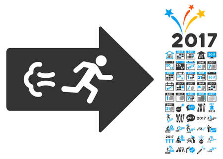 Exit Direction pictograph with bonus 2017 new year pictograph collection. Vector illustration style is flat iconic symbols,modern colors. Illustration