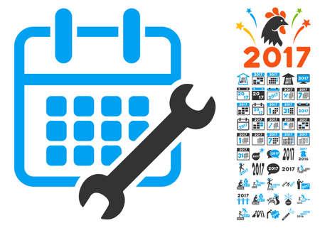 Calendar Configure pictograph with bonus 2017 new year symbols. Vector illustration style is flat iconic symbols,modern colors.