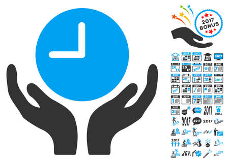Clock Care Hands icon with bonus 2017 new year clip art. Vector illustration style is flat iconic symbols,modern colors.