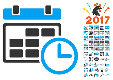 Date and Time icon with bonus 2017 new year symbols. Vector illustration style is flat iconic symbols,modern colors.