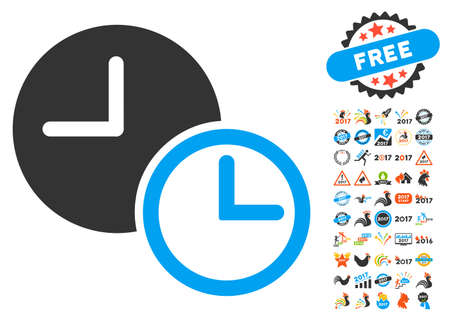 timed: Clocks icon with bonus 2017 new year graphic icons. Vector illustration style is flat iconic symbols,modern colors.