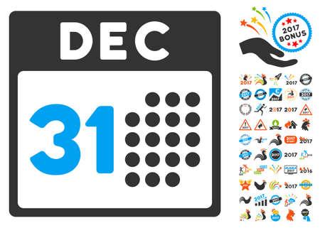 Última pictograma Día de Año con bono 2017 nuevos símbolos año. estilo de ilustración vectorial es símbolos icónicos planas, colores modernos.