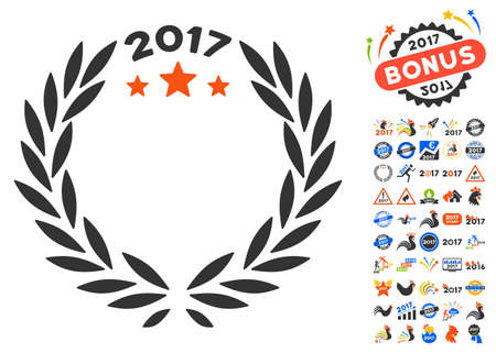 2017 Laurel Wreath pictograph with bonus 2017 new year icon set. Vector illustration style is flat iconic symbols,modern colors. Illustration