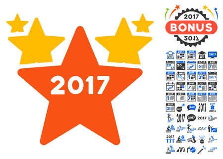 parade: 2017 Star Hit Parade pictograph with bonus 2017 new year pictograms. Vector illustration style is flat iconic symbols,modern colors. Illustration
