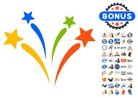 Los fuegos artificiales pictograma con el bono 2017 iconos gráficos nuevo año. estilo de ilustración vectorial es símbolos icónicos planas, colores modernos.