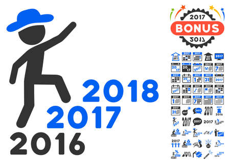 Gentleman Steps Years pictograph with bonus 2017 new year icon set. Vector illustration style is flat iconic symbols,modern colors.