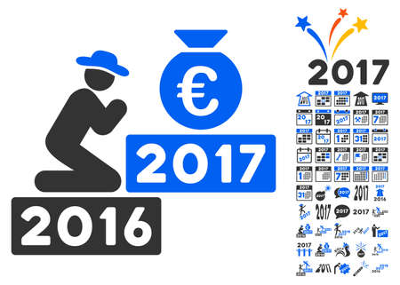 clip art cost: Pray for Euro 2017 icon with bonus 2017 new year icon set. Vector illustration style is flat iconic symbols,modern colors. Illustration