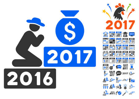 pray for: Pray for Money 2017 pictograph with bonus 2017 new year pictograph collection. Vector illustration style is flat iconic symbols,modern colors.