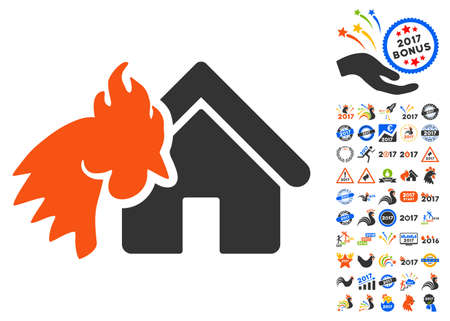 Red Rooster Realty Disaster pictograph with bonus 2017 new year symbols. Vector illustration style is flat iconic symbols,modern colors.