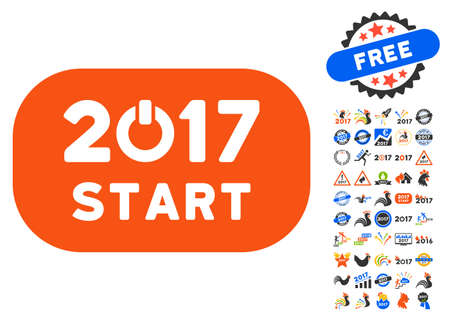 turn of the year: Start 2017 Year Rounded Button icon with bonus 2017 new year icon set. Vector illustration style is flat iconic symbols,modern colors.